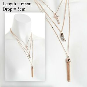 Costume Jewellery - Rose Gold Coloured 3 Row Cross Charm Long Necklace NEW