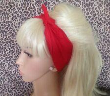 PLAIN RED COTTON FABRIC SQUARE BANDANA HEAD HAIR NECK SCARF 50s PIN UP RETRO