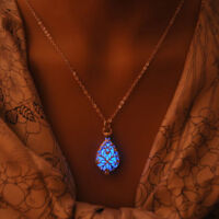 Silver Hollow Glowing Stone Glow In Dark Locket Luminous Choker Pendant Necklace