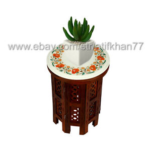 Handmade Plant Table Marble Inlay Round Stool Side Table Home Decor Furniture