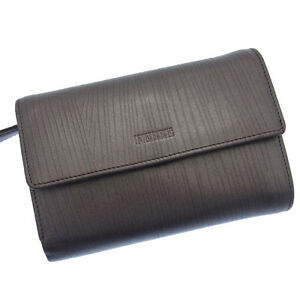 Gianfranco Ferre Wallet Purse Trifold Logo Brown Woman Authentic Used Y007
