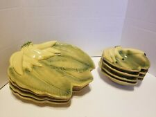 New listing Banana Bunch Leaf Plates And Bowls -  00002D52 Lot Of 4 Sets - Ceramic