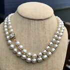 """VINTAGE MIRIAM HASKELL GLASS BAROQUE PEARL NECKLACE LONG 35"""" SIGNED"""