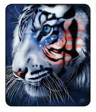 New Patriotic American Flag USA White Tiger Blanket Medium Weight Queen 79 x 96