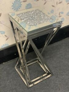 Tall Stainless Steel Mirrored 2 Nest of Tables Sparkly Diamond Crush Crystal