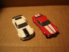 2 TOMY AFX BODY ONLY LOT FORD MUSTANG WHITE VS CHEVY CAMARO RED FITS 1.7 & 1.7+