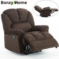 Oversized Recliner Chair Wide Backrest Seat Lux Velvet Fabric Living Room Sofa