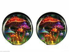 "PAIR-Mushroom World Acrylic Screw On Stash Plugs 18mm/11/16"" Gauge Body Jewelry"