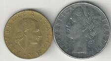 2 DIFFERENT COINS from ITALY - 100 & 200 LIRE (BOTH DATING 1978)