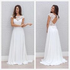 Fairy Bohemian Beach Wedding Dress Cap Sleeve Sheer Neck Top A Line Bride Gowns