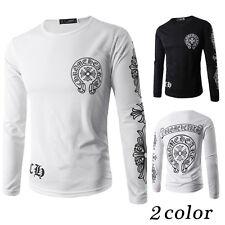 New Fashion Men's Casual Korea Slim Floral T-Shirt Crew Neck Long Sleeve Shirts