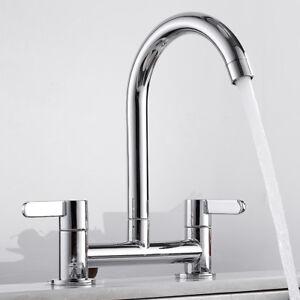 Modern Kitchen Taps Dual Lever Sink Mixer Bridge Tap Soiled Brass Faucets Chrome