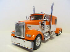 DCP 1/64 SCALE W900 KENWORTH FLAT TOP ORANGE & WHITE STRIPE (TRACTOR ONLY)