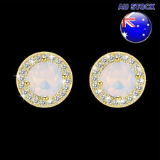 Wholesale Elegant 18K Gold Filled White Opal Clear Crystal Stud Earrings