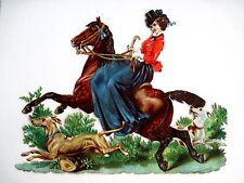 Vintage Victorian Stunning Die-Cut of Woman Riding Horse w/ 2 Dogs  (N)*