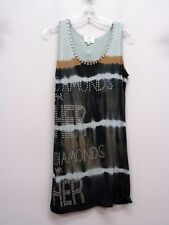 Y LONDON Size L Gray Blue Tan Tie Dye Rhinstone DIAMOND HER Dress Tunic Top