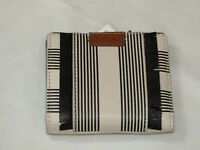 Fossil SL7474080 Emma Mini Wallet Black Stripe Multi RFID leather NWT*^