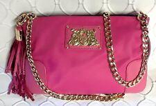 JUICY COUTURE Louisa Nylon Pink Crossbody Shoulder Bag Gold Chain Strap & Tassle