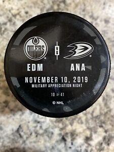 Anaheim Ducks vs Edmonton Oilers Warm-Up Puck Used Military Appreciation 11/10