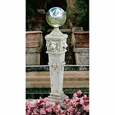 EU1361 - Lion Head Gazing Globe Garden Pillar Statue