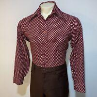 Vtg 60s 70s SEARS Kings Road Shirt Polka Dot Polyester Disco Burgundy MENS LARGE