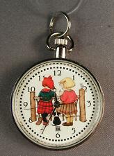"""Vtg Mary Engelbreit Small Silver Tone Pocket Watch """"Make A Wish� 2 Girls & A Dog"""