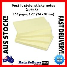 """2pcs 3x2"""" Yellow Post-It Style Sticky Notes Office Home Stationery Bulk 76x51mm"""