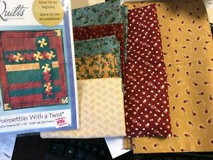 POINSETTIA'S WITH A TWIST quilt kit, 3 yards plus pattern