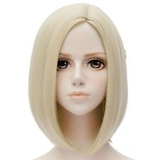 Womens Lady Short Straight Hair Fashion Full Wigs Cosplay Costume Golden Blond