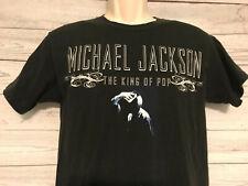 Michael Jackson The King of Pop black Silhouette Moon Walk Crew T Shirt Sz 34 36