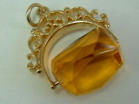 COLLECTORS 9CT GOLD 1970'S YELLOW GEM SPINNER FOB CHARM/PENDANT