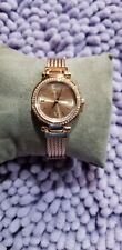 New Guess Women's Rose Gold-Tone Stainless Steel Cable Bracelet Watch U1009L3