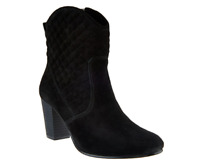 Isaac Mizrahi Live! Suede Quilted Stacked Heel Boots Black Women's Size 12 New