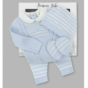 Baby boys Spanish style cable knitted 4 piece set NB 0-3 3-6 months