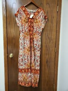 NWT LUCKY BRAND Women's Boho Dress Long Maxi Size 1x