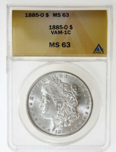 1885-O $1 MORGAN SILVER DOLLAR ANACS MS63 VAM-1C