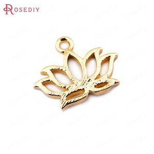 (33556)10PCS 10*12MM 24K Gold Color Brass Lotus Flower Charms Pendants