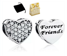 925 Silver Sterling BFF BEST FRIENDS FOREVER LOVE HEART STONE Charm+ gift box