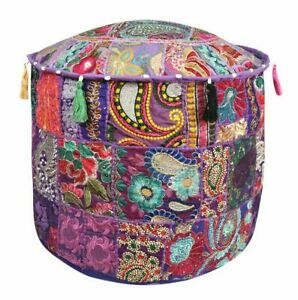 Vintage Large Pouf Ottoman Old Patchwork Foot Stool Kantha Pouffe Covers Throw