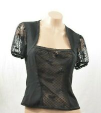 Black Top Bow Lace Inset UK 10 S
