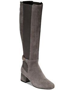 Cole Haan Womens Avani Stretch Riding Boots Gray Block Heel Zip Buckle 6 B New