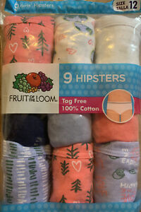 Girls' Fruit of the Loom 9 Pack Hipsters Underwear Size 12 New With Tags