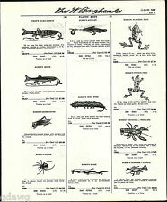 1960 ADVERT Burke's Fishing Lures Flex Minnow Floating frog Arbogast