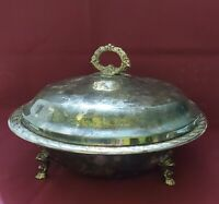 VINTAGE WM ROGERS & SON FLOWERS SILVERPLATED BOWL DISH, LID -FOOTED marked 2_02