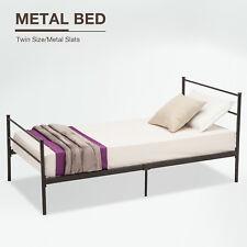 Twin Size Metal Bed Frame Foundation Platform Headboards 6 Leg Bedroom Furniture