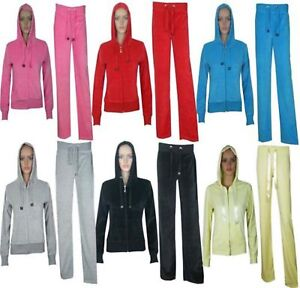 New Womens Ladies Plus Size Velour Full Tracksuit Hoodie Bottom Trouser 16 - 26