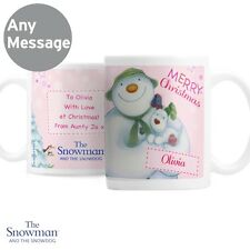 Personalised The Snowman and the Snowdog Pink Mug Cup Merry Christmas X'mas