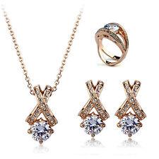 Elegante Conjunto Pendiente De Botón Collar Colgante Anillo Cristal Oro Chapado