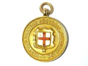 1931-32 9ct Gold Enamel West End LONDON Football Fob Medal M. Goodman #WP15