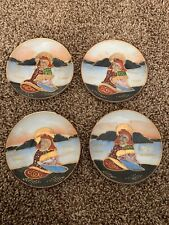 VINTAGE AND RARE HAND PAINTED JAPANESE TEA CUP SAUCERs Set Of 4